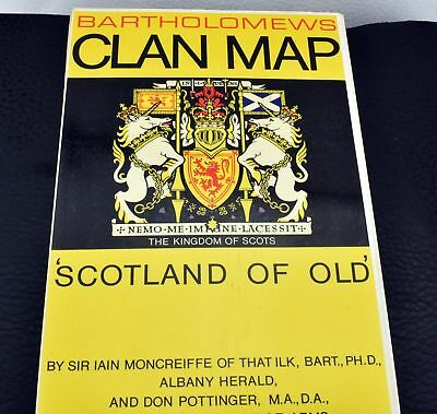 Bartholomews Vintage Clan Map Scotland Of Old by Sir Ian Moncreiffe Book Guide