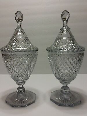 """Early 19C  Waterford Quality Cut Crystal Diamond Point Mantle Urn Jars 12"""" H"""