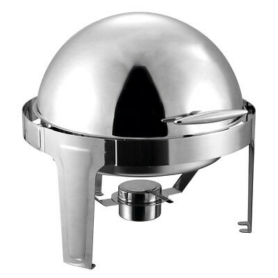 SOGA Stainless Steel Chafing Food Warmer Catering Dish 6L Round Roll Top