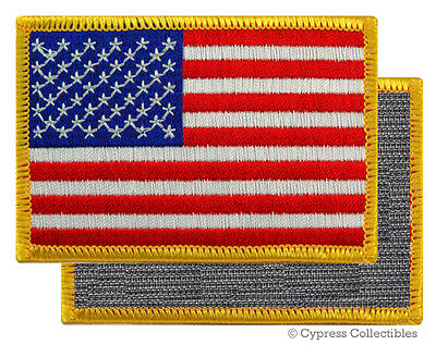 AMERICAN FLAG BIKER PATCH GOLD RIGHT embroidered USA w/ VELCRO® Brand Fastener