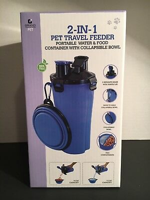 Grand Innovations 2 in 1 Pet Travel Feeder Portable Water And Food Container