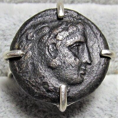 Authentic Ancient Greek Bronze Coin Sterling Silver Ring Size 7 Hercules COA 013
