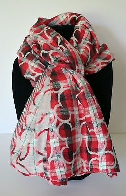 Disney Parks Christmas Holiday Mickey Icon Plaid Reversible Red Silver Scarf NWT