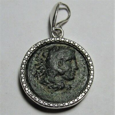 Authentic Ancient Bronze Greek Coin Sterling Silver Pendant Setting Hercules 041