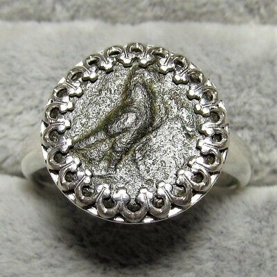 Ancient Greek Bronze Coin Size 8 Sterling Silver Ring Setting Eagle #094