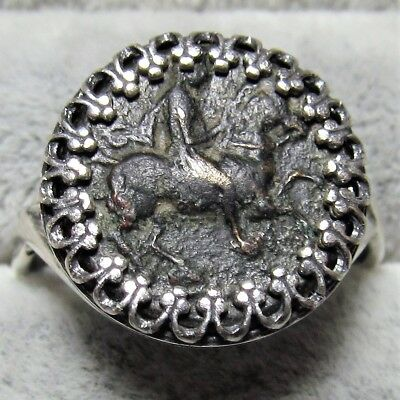 Authentic Ancient Greek Bronze Coin Adjustable Sterling Silver Ring Setting #127