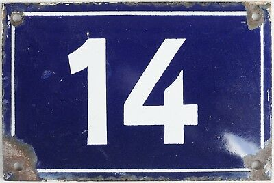 Old French house number 14 door gate wall plate plaque enamel steel metal sign