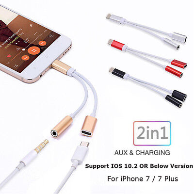 2 In 1 ios to 3.5mm Aux Headphone Charger Audio Jack Adapter For iPhone 7 7 Plus