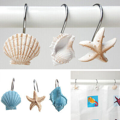 12 pcs decorative seashell shower curtain hooks bathroom beach shell