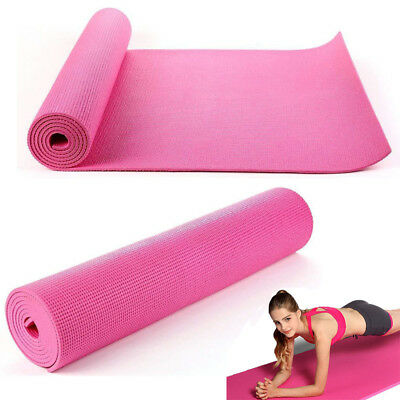 Yoga Mat pink 1730 x 610 x 6mm PVC Exercise Pilates Health Gym Lady Fitness US