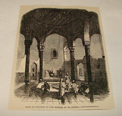 1880 magazine engraving ~BATHS IN HAGIA SOPHIA, Constantinople~ Suleiman,Solyman