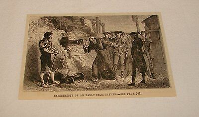 1876 magazine engraving ~ EXPERIMENTS OF AN EARLY TELEGRAPHER