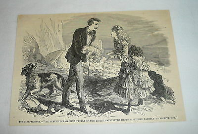 1877 magazine engraving ~ MAN GIVES POODLE TO WOMAN