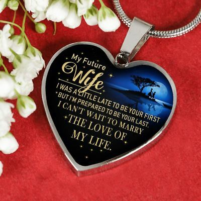 MY FUTURE WIFE Pendant Necklace Chain - Husband To My Wife Quotes Jewelry  Gifts