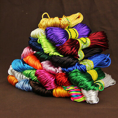20 Meters 2Mm Rattail Satin Nylon Macrame Braiding String Knitting Rope Liberal