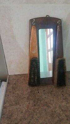 Wall Hanging Hall Mirror With Clothes Brushes Vintage