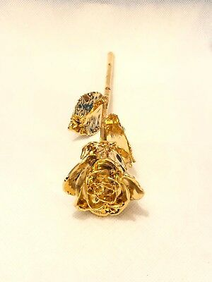 Luxury Natural Rose Dipped In 24Ct Gold In Red Satin Box Mothers Day Gift