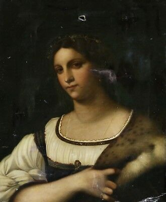 19th CENTURY FRENCH OIL ON CANVAS - PORTRAIT OF A LADY - DEL PIOMBO - TO RESTORE