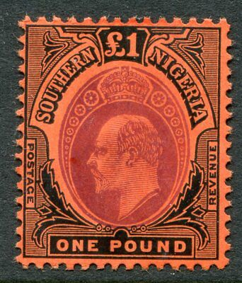 Southern Nigeria KEVII 1907-11 £1 SG 44 hinged mint (cat. £250)