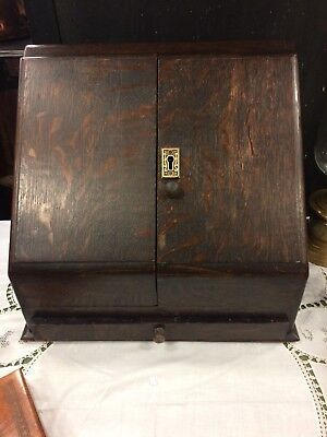 Antique Oak Table Top Stationary Box With Perpetual Calendar Single Draw & Key