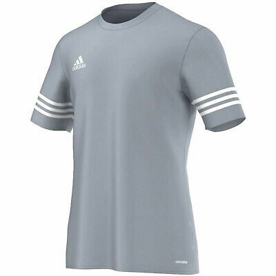 adidas Entrada 14 Football T-Shirt Silver and White - Boys and Mens Sizes
