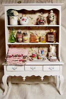 Dollhouse Shabby Chic Vanity Hutch Charming Accessories, With Reutter Porcelain