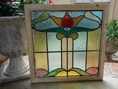 Antique English Leaded Stained Glass Window Wood Frame 26 x 26  Arts & Crafts -1