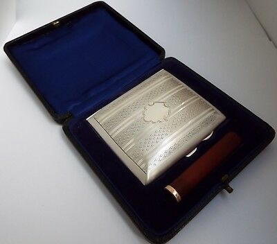 Superb Unused English Antique 1927 Sterling Silver & Gold Cigarette Smoking Set