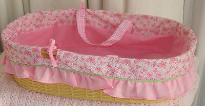 Baby Layette Toiletry Nursery Basket Frilly Floral Plastic Doll Carrycot EMPTY