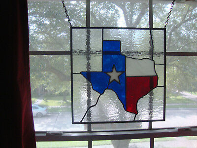 "Stained Glass Texas State 12"" X12"" Window Panel ( copper foil - hand craft art )"