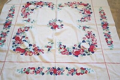 Vintage Tablecloth Colorful FRUIT FLOWER MOTIF Early