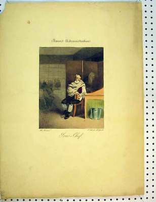 Original Old Antique Print C1810 French Colour Man Sitting Book House 19th