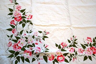 Vintage Tablecloth Morning Glory Vines Pink Red Early One