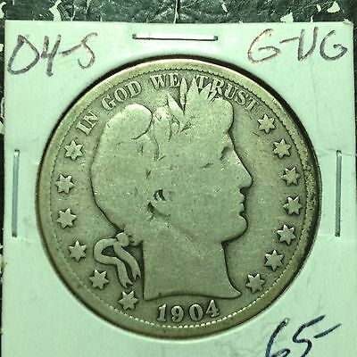 1904-S    G-VG    Barber Half Dollar   Y and part of LIT    Nice Coin