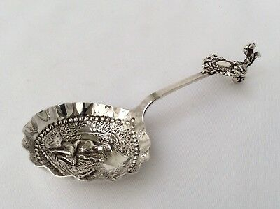 Antique DUTCH Hallmarked SOLID SILVER Caddy Spoon LONDON Import Marks SBL C1896