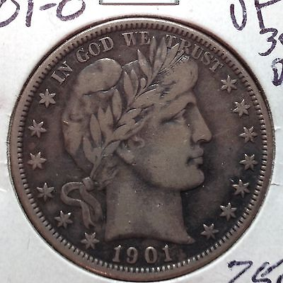 1901-O    VF-XF Detail    Barber Half Dollar  Full Strong Liberty and reverse