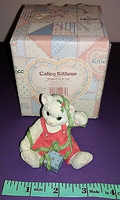 Enesco Calico Kittens Wrapped Up In You Christmas Figurine by Priscilla Hillman