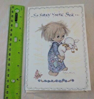 Vintage Betsey Clark Hallmark Card Unused Get Well Girl w/ Lamb Sheep