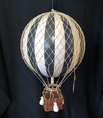 Black White Striped Hot Air Balloon Ceiling Hanging Aviation Decor 20+ inches