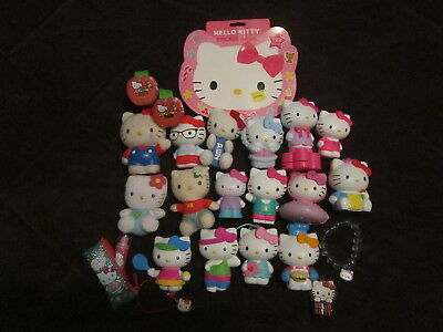 Hello Kitty Lot of 24 Figures, Jewelry, and Toys Pez Stickers Mor