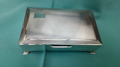 SUPERB  Vintage Footed  SOLID SILVER CIGARETTE BOX / Jewellery Box - Birm 1963