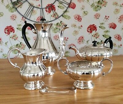 "Beautiful Antique ONEIDA ""haddon Plate"" Melon Form Silver Plated Tea Set C1900"