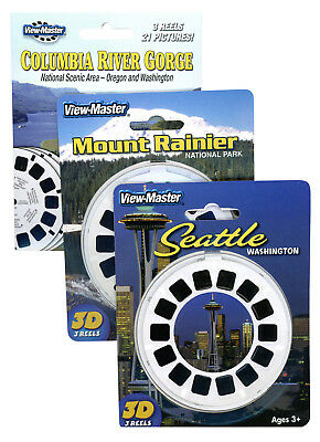 Columbia River Gorge -Mt Rainier-Seattle- NEW Triple ViewMaster Set -9 Reels