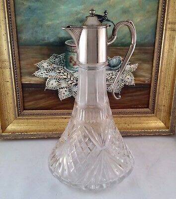 "Vintage 12"" Silver Plated & Cut Glass Ships Decanter Claret Jug 1.2 Ltr 2.2 Kg"