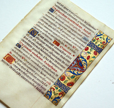 Illuminated Manuscript Book Of Hours Leaf 1470 Gold, Lovely Borders, St Nicholas