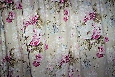 """Pink & white roses on beige curtains 52""""d x 91""""w Dunelm"""