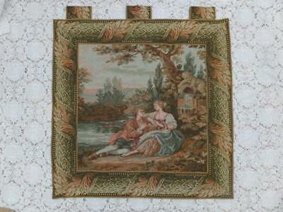 "35"" Large Woven Tapestry Wallhanging Picture Panel Romantic Vintage French Angel"