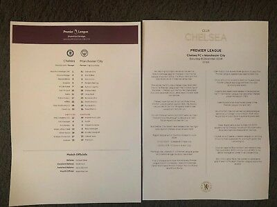 8/12/2018..CHELSEA v MAN CITY TEAMSHEET OFFICIAL CLUB CHELSEA ISSUE MINT