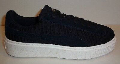 a41448d4815 Puma Size 8.5 BASKET PLATFORM OW Black Fabric Suede Sneakers New Womens  Shoes