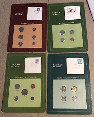 (4) Coins Of All Nations Uncirculated Sweden, Netherlands Luxembourg Ecuador